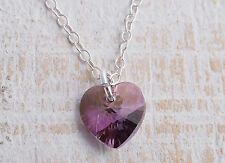STERLING SILVER SWAROVSKI CRYSTAL HEART CHAIN NECKLACE 925 ~ LILAC SHADOW