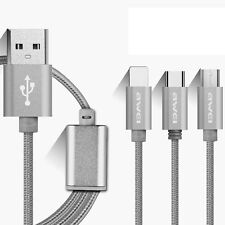 3 in 1 USB Sync Data Charging Charger Cable Cord for Type-C Phone iPhone Android