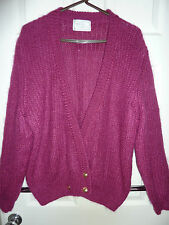 Vintage 90's Ladies cardigan 50% Mohair raspberry pink Size UK 18 bust 48""