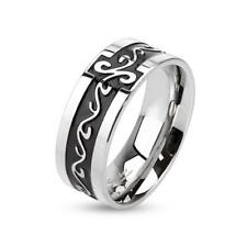 coolbodyart AF Anillo de acero inoxidable PLATA-NEGRO con Tribal 6/8mm Ancho