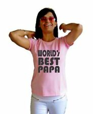 LetsFlaunt Worlds Best Papa T-shirt Women Pink Dry-Fit Nw(LetsFlaunt-3008-NW)