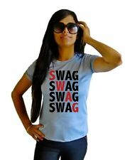LetsFlaunt Swag Swag T-shirt T-shirt Women Grey Dry-Fit Nw(LetsFlaunt-3093-NW)