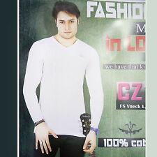 Mens TShirt, V-Neck 100% Cotton Full Sleeves TShirt For Mens/Boys Wear