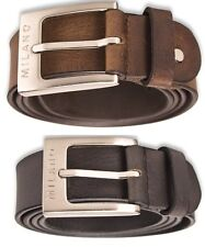 "MILANO MENS 1.5"" REAL FULL GRAIN LEATHER BELTS MULTI COLOURS BELT SILVER BUCKLE"