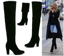 LADIES SEXY OVER THE KNEE THIGH HIGH SOFT SUEDE HIGH HEEL FOLD OVER THIGH BOOTS