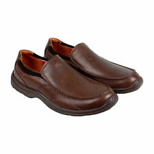 Clarks Niland Energy Mens Brown Leather Casual Dress Slip On Loafers Shoes