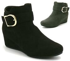 NEW WOMENS LADIES FLAT FAUX SUEDE BUCKLE MID HEEL WEDGE ANKLE BOOTS SHOES SIZE