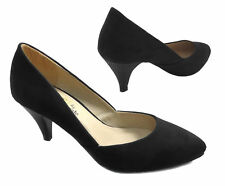 Womens Black Suede Low Kitten Heel Mary Jane Court Party Formal Shoes Wedding