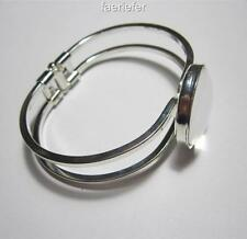 Silver plated bangle blank setting for 25 mm cabochon or resin jewellery making