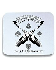 Tappetino Mouse Pad T0876 bicylindric twin attitude built for speed garage auto