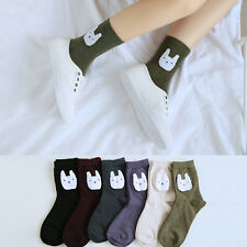 Cute Fashion White Cat Head On  Ladies Womens Socks Combed Cotton Lovely Socks