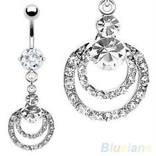 Rhinestone Belly Bar Hanging Hoop Button Ring Charm Gem Reverse Navel Bars