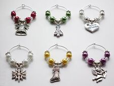 Christmas Wine Glass Charms  Choice of Bell Tree Heart Snowflake Stocking Cherub