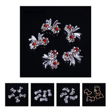 10X(10pcs 3D Nail Art Bow Tie Alloy Rhinestones DIY Decoration)