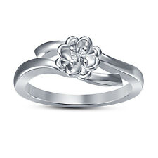 925 Sterling Silver Platinum Plated Cubic Zirconia Flower Shape Ladise Ring
