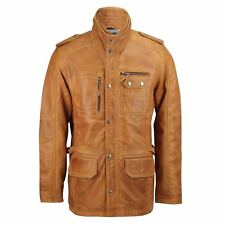 New Mens Tan Brown Real Leather Military Vintage Coat Smart Casual Field Jacket