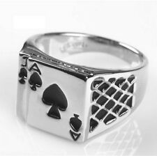 Seal ring, ring Ace spades good luck to fan of poker, multi sizes