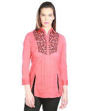 OPUS Coral Cambric Cotton Party Embroidered Fusion Wear Women's Top