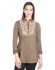 OPUS Burnt Olive Cambric Cotton Party Embroidered Fusion Wear Women's Top