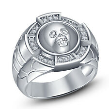 925 Pure Silver White Gold Fn Round White CZ Graceful Men's Bikers Skull Ring