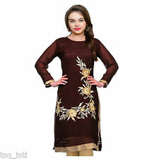 Women dress/embroiderd kurtis/ladies kurtis/causal dress/kurti dress/Brown Kurti
