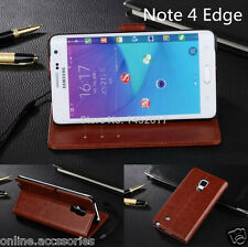 VINTAGE PU LEATHER FLIP WALLET COVER BACK CASE FOR SAMSUNG GALAXY NOTE EDGE