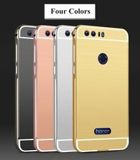 Aluminum Metal Bumper with PU Mirror Back Cover Case For HUAWEI HONOR 8