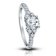 New!! White Rhodium Plated 925 Silver American Diamond Solitaire W/ Accents Ring