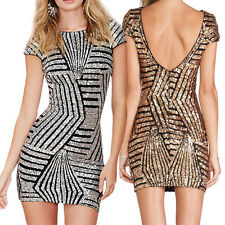 NEW Women Sexy Backless Bodycon Cocktail Evening Party Pencil Sequins Mini Dress