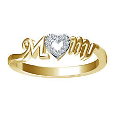 BEAUTIFUL American Diamond Gold Plated 925 Silver Mom Ring+Free Shipping