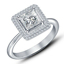 Riva jewels Platinum Plated 925 Silver Princess Cut CZ Wonderful Engagement Ring