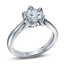 White Platinum Plated 925 Silver White RD CZ Beautiful Solitare Ring For Women's