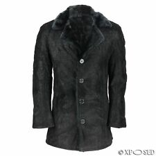 Mens Black Faux Leather Fur Lined Slim Fit Warm Winter Trench Overcoat Jacket