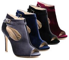 LADIES VELVET ANKLE BUCKLE PEEP TOE CUT OUT WORK PARTY STILETTO ANKLE SHOES 3-8