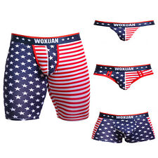 Mens Sexy American Flag Underwear Boxer Briefs Trunks Shorts Pants T-back Briefs