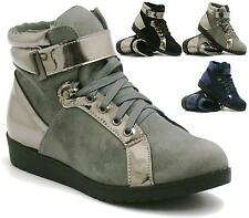 LADIES LACE UP METALLIC STICK ON STRAP HI-TOP HIDDEN WEDGE TRAINERS ANKLE BOOTS