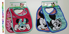 Minnie Mouse & Mickey Mouse Pack Of 2 Bib Baby Girls & Boys Disney