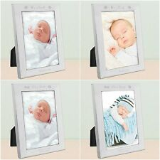 Personalised Its a Boy Girl Baby Newborn Foot Prints Picture Photo Frame Silver