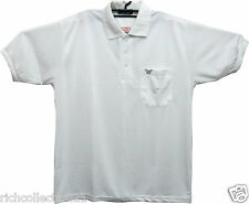Men's White Collar Neck Hand Ribbed Side Pocket T-shirt # Size XXL(44)&XXXL(46)