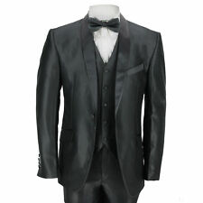 Mens 3 Piece Dinner Suit Vintage Black Shawl Lapel Slim Fit Wedding Party Prom