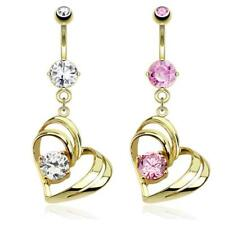 AF ACCIAIO CHIRURGICO PIERCING OMBELICO PLACCATO ORO 14 Kt hohles Cuore con
