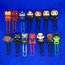 Avengers - Bobblehed Cartoon Bookmark Paperclip Iron Man Spider-Man Hawkeye NEW