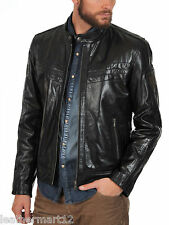 ADARGA Leather Vintage look Designer Black Jacket Biker Racer Blazer Men's