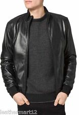 ADARGA Leather Vintage look slimfit Designer Black Jacket Biker Racer for Men's