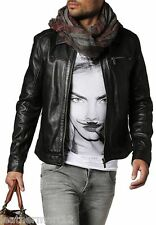 ADARGA Leather Vintage look Designer Jacket Biker Racer Blazer for Men's Black