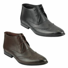 Mens Black Brown Leather Ankle Boots Smart Formal Lace Shoes Size 6 7 8 9 10 11