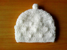 Handmade Crocheted Baby Unisex Beanie Bobble Hat  various colours  100% Acrylic