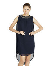 W.A.Y(We Are Young) Lounge Wear Navy embellished SHORT DRESS for Women_5157_Navy