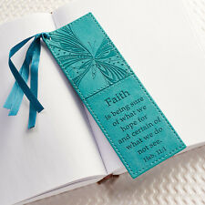 FAITH Hebrews 11:1 Turquoise Faux Leather Bookmark Page Marker Christian