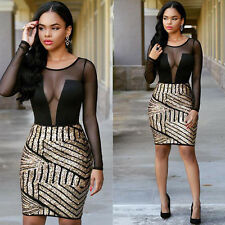 NEW Sexy Women Sequins Mesh Bandage Bodycon Club Cocktail Party Short Mini Dress
